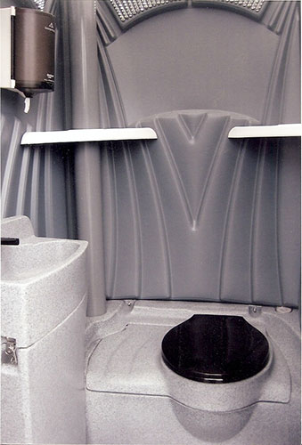 Portable Toilet Interior with sink and running water